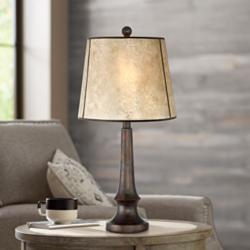 Naomi Aged Bronze Mica Shade Industrial Table Lamp