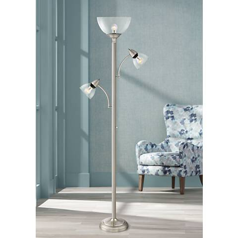 Covina tree torchiere floor lamp with glass shades