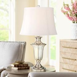 Courtney Polished Nickel and Crystal Traditional Table Lamp