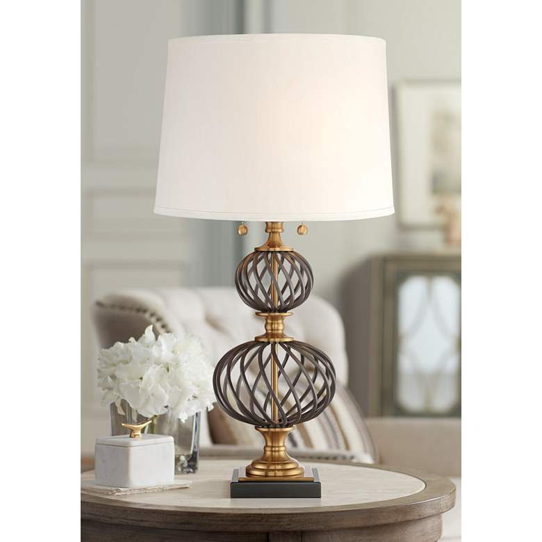 Bristol Brass and Black Lattice Metal Table Lamp