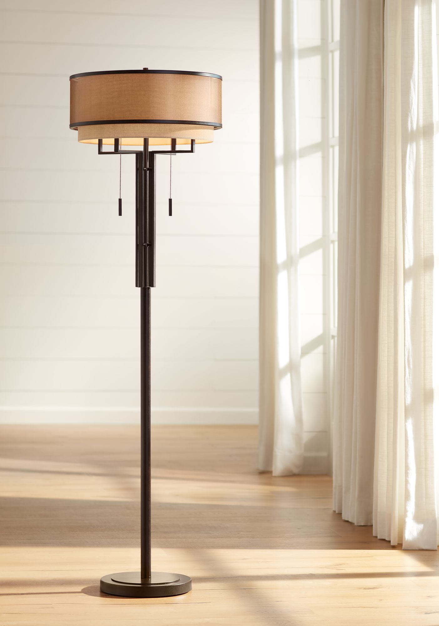 High Quality Franklin Iron Works Alamo Floor Lamp With Double Shade