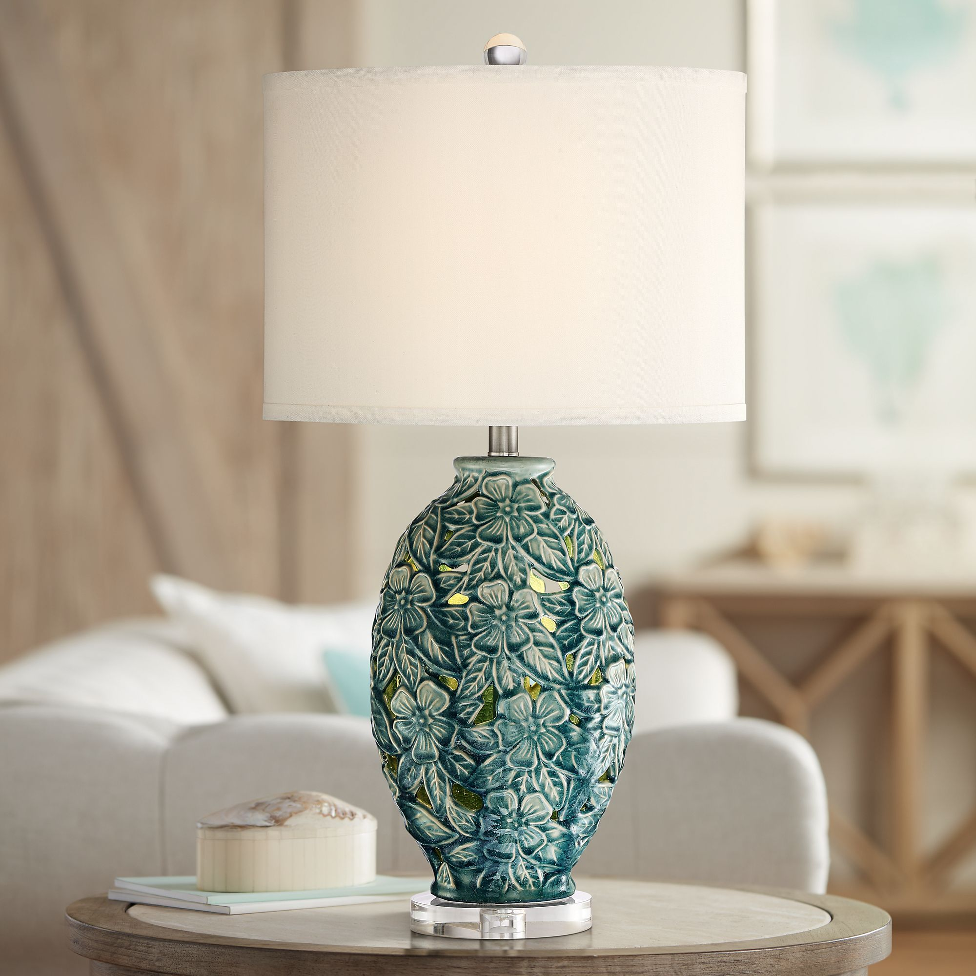 Possini Euro Clair Ceramic LED Night Light Table Lamp