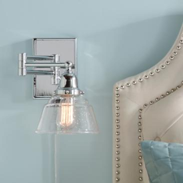 Brad Polished Nickel and Speckled Glass Swing Arm Wall Lamp