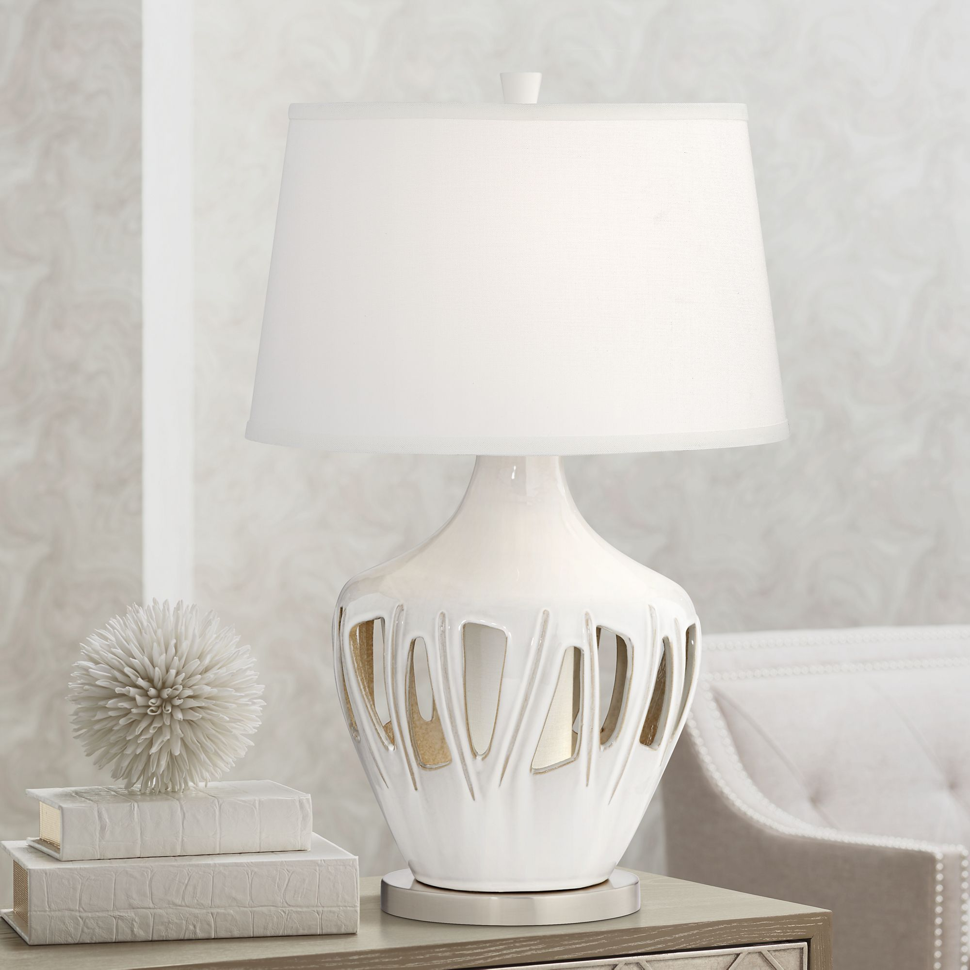 Possini Euro Ernest Ceramic Table Lamp With LED Night Light