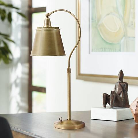 Hyde Park Downbridge Brass Finish Metal Shade Desk Lamp
