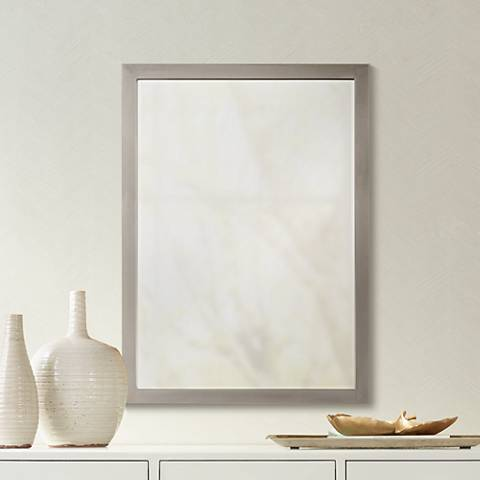 "Paradox Brushed Nickel 24"" x 33"" Wall Mirror"