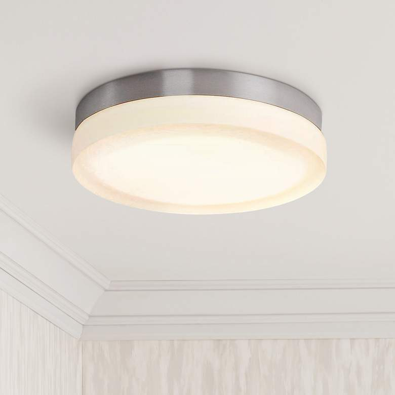 "dweLED Slice 9"" Wide Brushed Nickel Round LED"