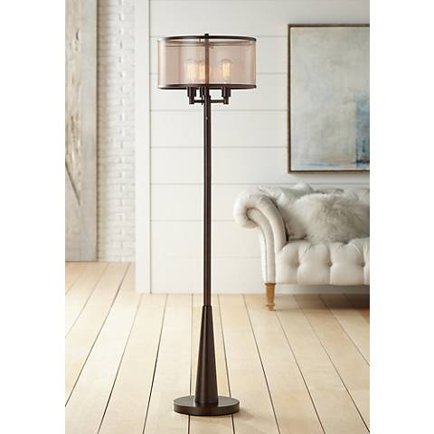 Franklin Iron Works Durango Floor Lamp with Edison Bulbs