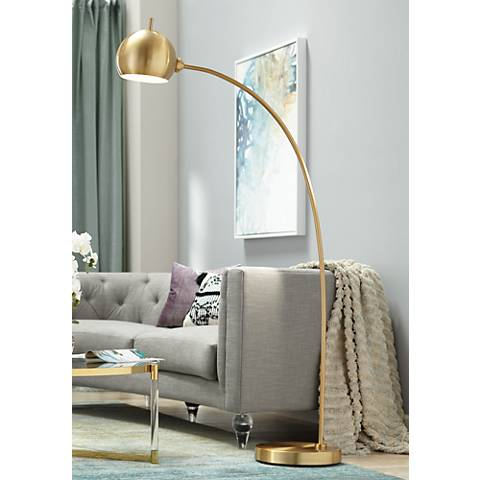 Capra Chairside Arc Floor Lamp Antique Brass
