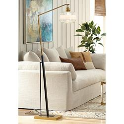 Kasmir Chairside Arc Floor Lamp Antique Brass and Black