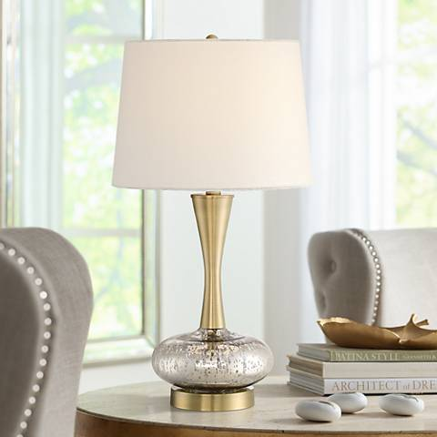 Corey Modern Brass and Liquid Silver Table Lamp