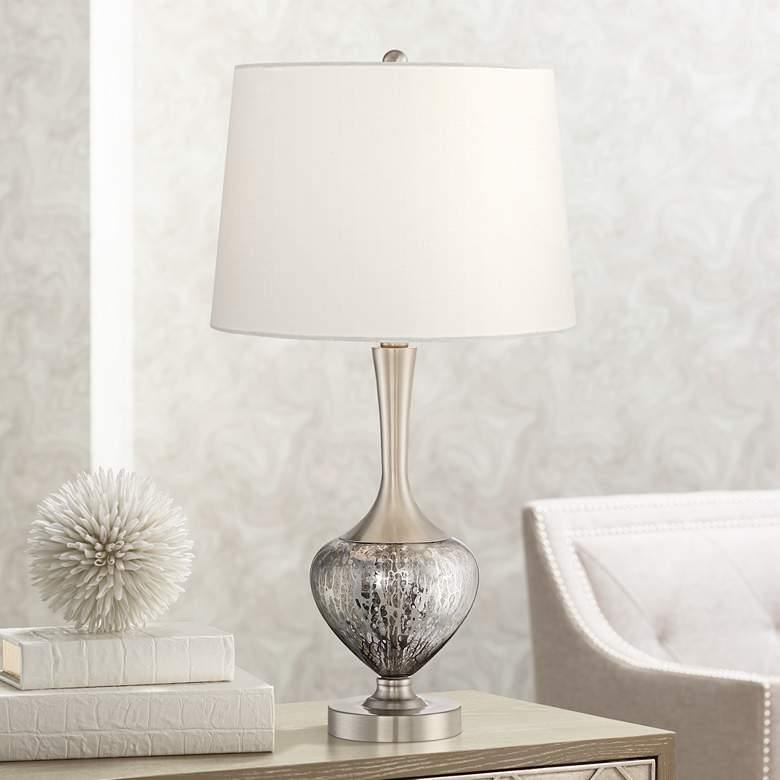 Martha Modern Metal and Glass Table Lamp
