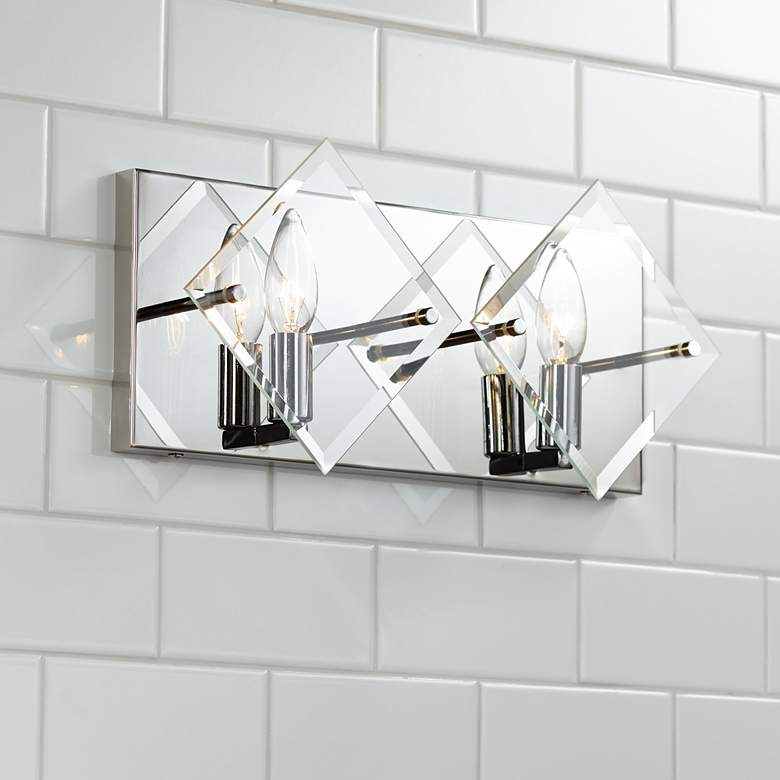 "Possini Euro Collins 7 1/2"" High Chrome 2-Light Wall Sconce"
