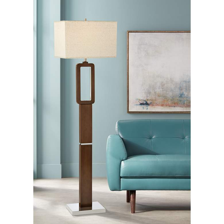 Lite Source Leonard Walnut Floor Lamp with LED