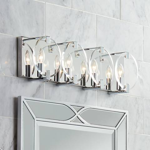 "Possini Euro Collins 23 1/2"" Wide Chrome 4-Light Bath Light"