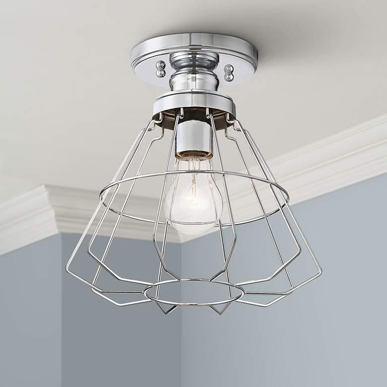 """Nicholas 10"""" Wide Chrome Ceiling Light"""