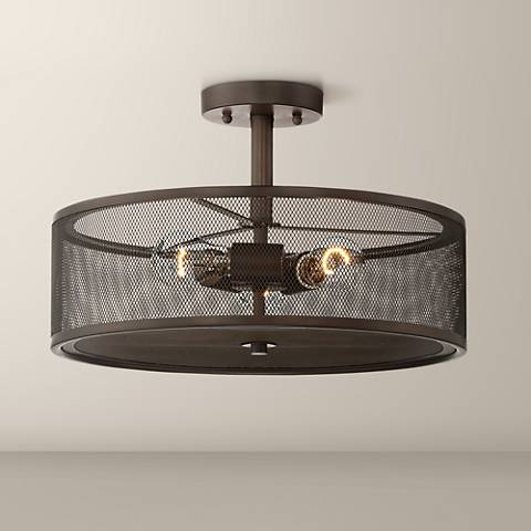"Rhodes 16"" Wide Bronze 3-Light Drum Ceiling Light"