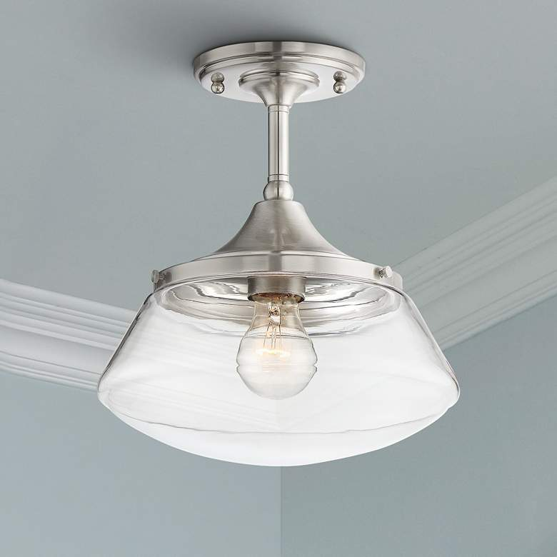 "Farm House 10 1/2"" Wide Brushed Nickel Ceiling Light"