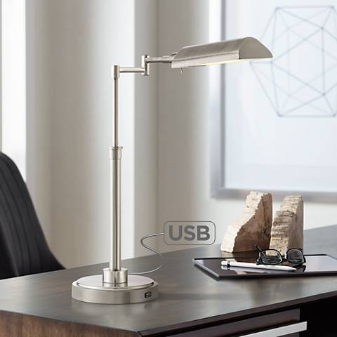 rivera swing arm led desk lamp with usb port brushed nickel 33f83 lamps plus. Black Bedroom Furniture Sets. Home Design Ideas