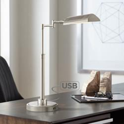 Rivera Swing Arm LED Desk Lamp with USB Port Brushed Nickel