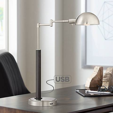 Joel Nickel and Black Swing Arm LED Desk Lamp with USB Port