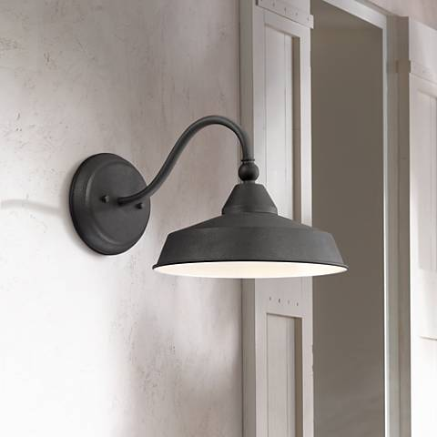 "Willard 11"" High Textured Black LED Barn Outdoor Wall Light"
