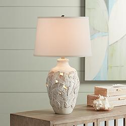 Palm Bay Beige Almond Table Lamp with Night Light