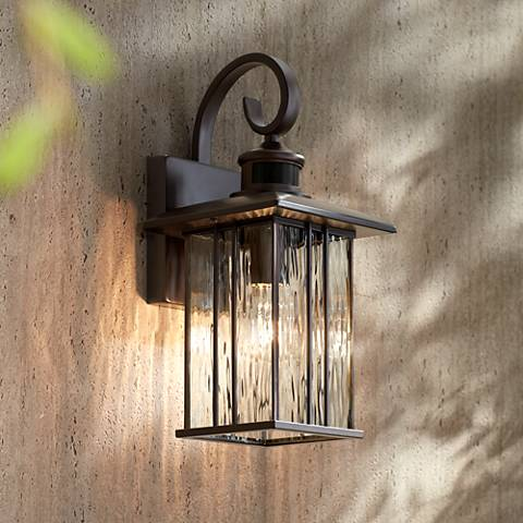"Deaver 15 1/4"" High Bronze Motion Sensor Outdoor Wall Light"