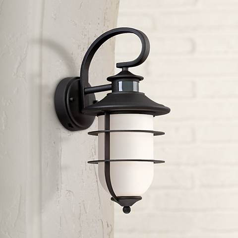 "Tom 16"" High Textured Black Motion Sensor Outdoor Wall Light"