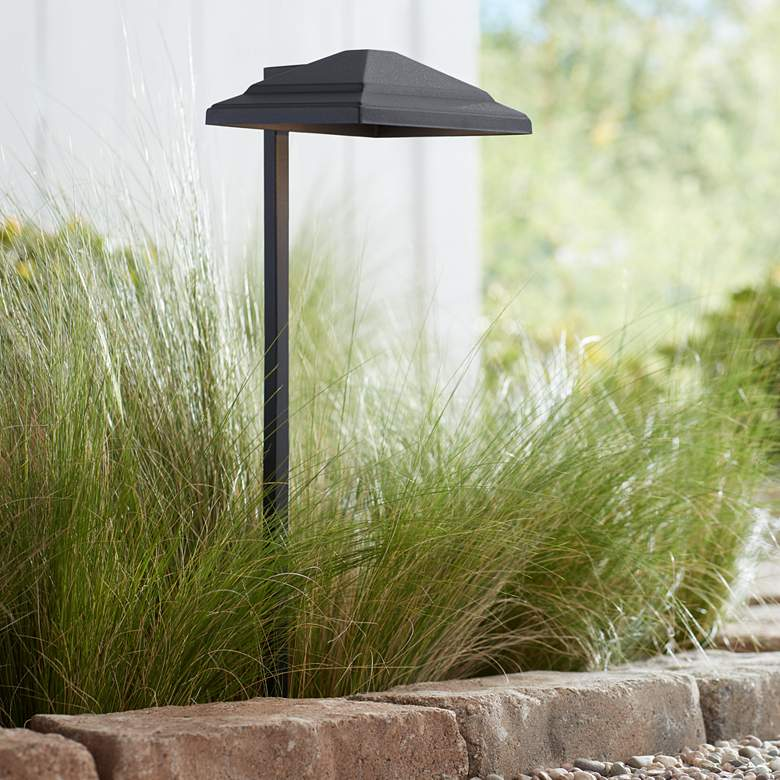 "Basset 23"" High Textured Black LED Landscape Path"