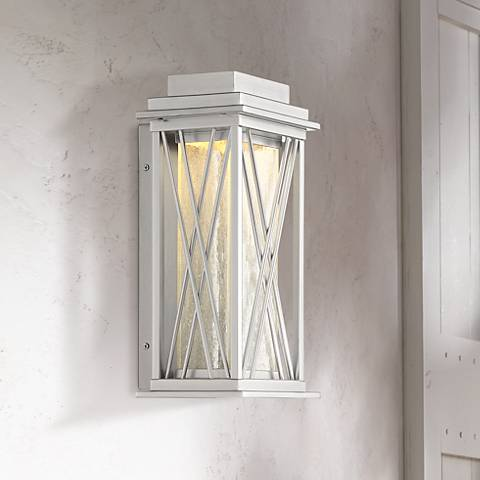 "Possini Euro Kris 14""H Brushed Nickel LED Outdoor Wall Light"