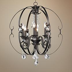 "Ella 26"" Wide Brushed Etruscan Bronze 6-Light Chandelier"
