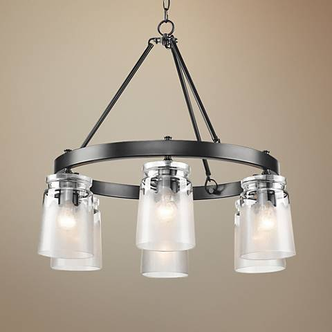 "Travers 28 1/4"" Wide Black 6-Light Chandelier"