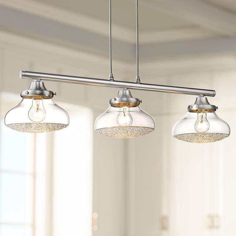 "Asha 32"" Wide Pewter 3-Light Island Pendant"