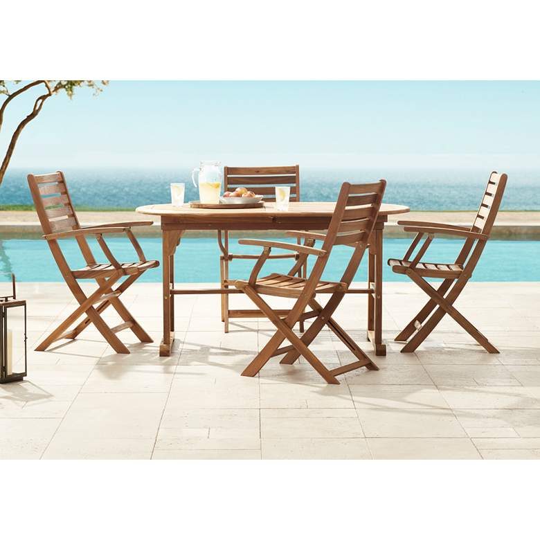 Capri Natural Wood 5-Piece Outdoor Patio Dining Set