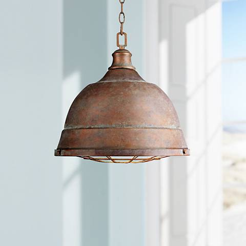 "Bartlett 16 1/2"" Wide Copper Patina Pendant Light"