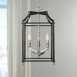 "Leighton 11 3/4"" Wide Pewter and Black 3-Light Mini Pendant"