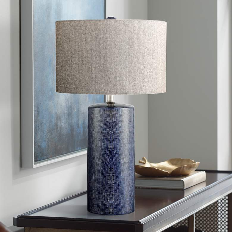 Lite Source Jacoby Navy Blue Ceramic Table Lamp 33t79