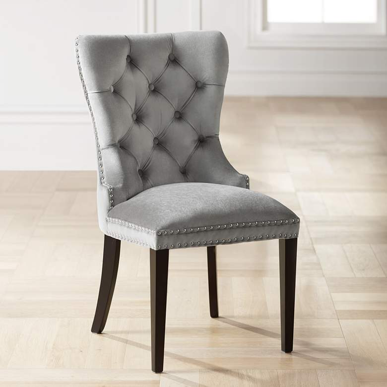 Wondrous Euphoria Tufted Gray Velvet Dining Chair Creativecarmelina Interior Chair Design Creativecarmelinacom
