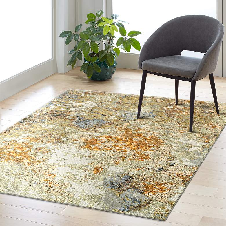 Evolution 8031b Gold And Beige Area Rug 33y28 Lamps Plus