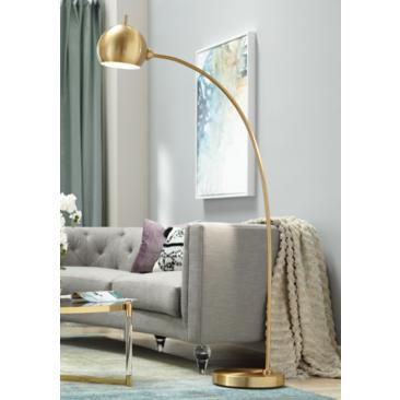Capra Antique Brass Finish Chairside Arc Floor Lamp