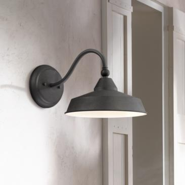 "Willard 8 3/4""H Textured Black LED Barn Outdoor Wall Light"