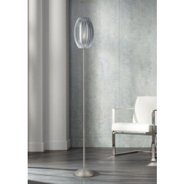 "Lite Source 69 1/2"" High Satin Steel Egg Floor Lamp"
