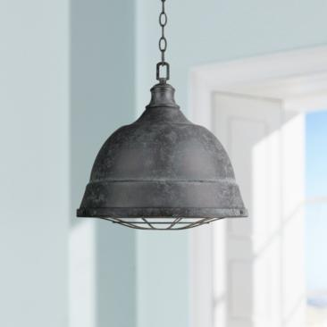 "Bartlett 16 1/2"" Wide Black Patina Pendant Light"