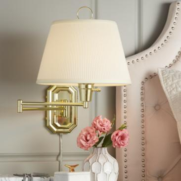 Fredericks Brass with Ivory Pleated Shade Plug-In Wall Lamp
