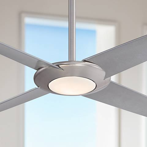 "62"" Minka Aire Pancake XL Brushed Nickel LED Ceiling Fan"