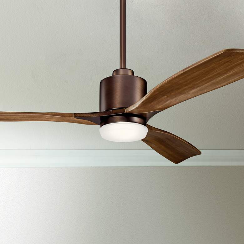 "52"" Kichler Ridley II Oil Brushed Bronze LED Ceiling Fan"