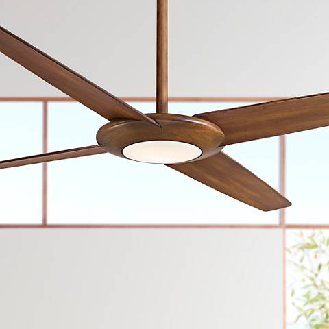 "62"" Minka Aire Pancake XL Distressed Koa LED Ceiling Fan"