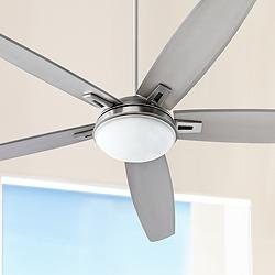 "72"" Quorum Vector Satin Nickel LED Ceiling Fan"