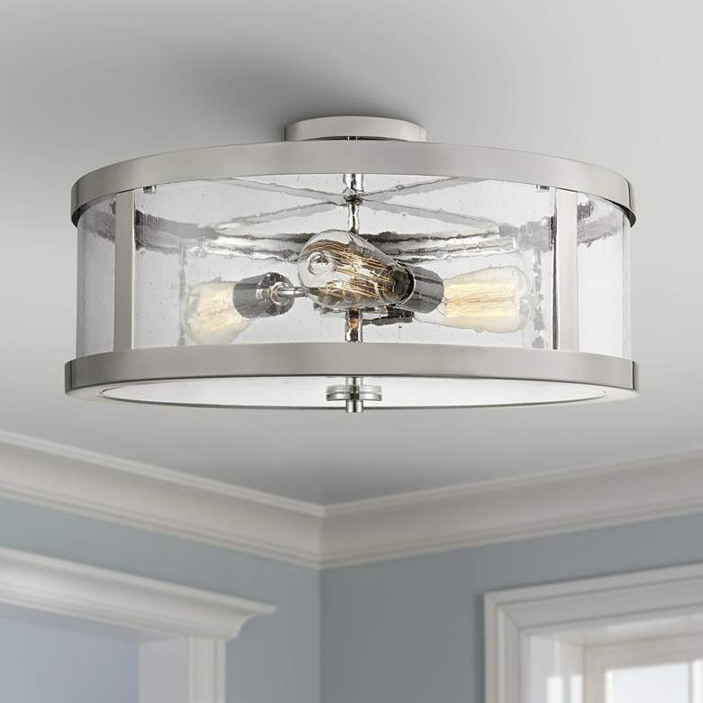 "Feiss Harrow 19 3/4""W Polished Nickel 3-Light Ceiling"